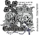 gothic coat of arms with skull  ... | Shutterstock .eps vector #703678999