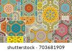 vector patchwork quilt pattern. ... | Shutterstock .eps vector #703681909