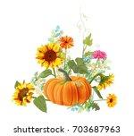 horizontal autumn border ... | Shutterstock .eps vector #703687963