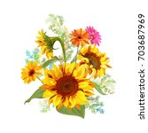 bouquet autumn flowers  yellow... | Shutterstock .eps vector #703687969