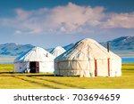 song kul   high alpine lake in... | Shutterstock . vector #703694659