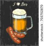 set with hand drawn beer and... | Shutterstock .eps vector #703702870