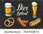 oktoberfest set with hand drawn ... | Shutterstock .eps vector #703702873