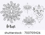 mandala set and other elements. ... | Shutterstock .eps vector #703705426