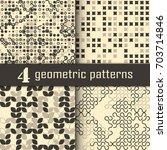 set of four seamless geometric... | Shutterstock .eps vector #703714846