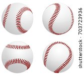 baseball balls four views  ... | Shutterstock .eps vector #703723936
