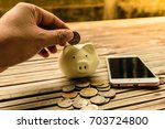 Small photo of Saving for the future is being created by a coin piggy bank pig. Bamboo flooring is old expresses the mana to create businesses.