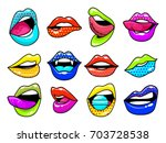 fashion patch badges with lips... | Shutterstock .eps vector #703728538