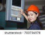 young asian woman engineer set... | Shutterstock . vector #703736578
