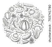 monochrome sketch set of... | Shutterstock . vector #703741780