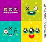 cartoon monster faces  card for ... | Shutterstock .eps vector #703744759