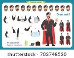 set of super businessman... | Shutterstock .eps vector #703748530