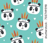 muzzle of pandas and hearts ... | Shutterstock .eps vector #703749598