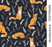 foxes and flowers  hand drawn... | Shutterstock .eps vector #703749604