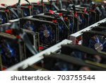 bitcoin mining cryptocurrency... | Shutterstock . vector #703755544