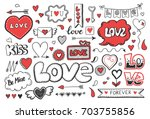 set of hand drawn doodle love... | Shutterstock .eps vector #703755856