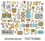 set of hand drawn doodle with... | Shutterstock .eps vector #703755880