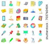 clerk icons set. cartoon style...   Shutterstock .eps vector #703760404