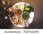 top view set of thai northern...   Shutterstock . vector #703762690