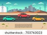 cars in a desert road | Shutterstock .eps vector #703763023