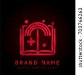 story red chromium metallic logo