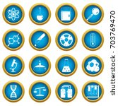 chemical laboratory icons blue... | Shutterstock .eps vector #703769470