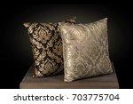 two cushion pillows hand... | Shutterstock . vector #703775704