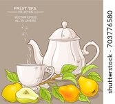 cup of pear tea and teapot on...   Shutterstock .eps vector #703776580