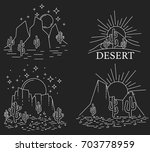 set of four different desert... | Shutterstock .eps vector #703778959