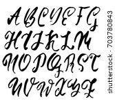 hand drawn dry brush font.... | Shutterstock .eps vector #703780843