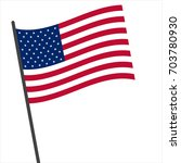 usa flag waving isolated vector ... | Shutterstock .eps vector #703780930