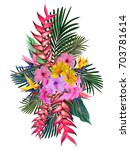 tropical flowers  palm leaves ... | Shutterstock .eps vector #703781614