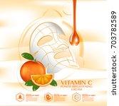 mask sheet orange fruit vitamin ... | Shutterstock .eps vector #703782589