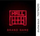 mall red chromium metallic logo
