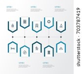 traveling outline icons set.... | Shutterstock .eps vector #703787419