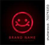smile red chromium metallic logo