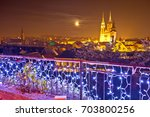 zagreb cathedral and cityscape... | Shutterstock . vector #703800256