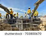 construction worker concrete... | Shutterstock . vector #703800670
