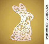 laser cut easter bunny rabbit.... | Shutterstock .eps vector #703809226
