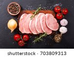 fresh pork with ingredients for ... | Shutterstock . vector #703809313