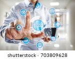 action plan on the virtual... | Shutterstock . vector #703809628