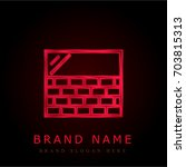 wall red chromium metallic logo