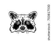 head is adorable raccoon. totem ... | Shutterstock .eps vector #703817530