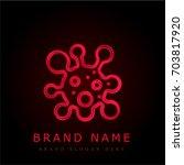 virus red chromium metallic logo