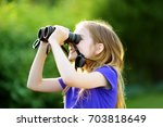 funny little girl looking... | Shutterstock . vector #703818649