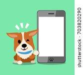 cartoon character corgi dog and ... | Shutterstock .eps vector #703820290