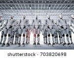 3d rendering robot army or...   Shutterstock . vector #703820698