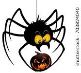 halloween spider cartoon... | Shutterstock .eps vector #703824040