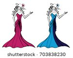 girl in cocktail dress | Shutterstock .eps vector #703838230