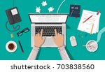 writer or journalist workplace. ... | Shutterstock .eps vector #703838560